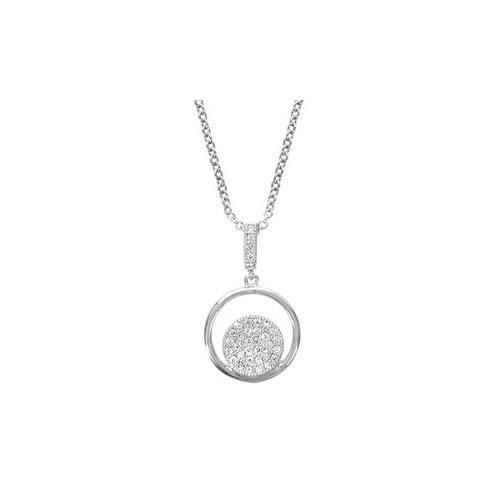 Collier argent rhodié pendentif rond avec pastille
