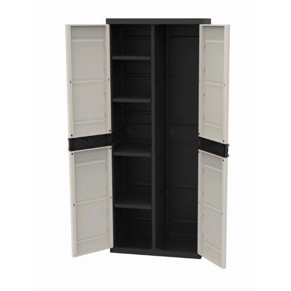 TITANIUM PLASTIKEN Armoire 2 portes avec étagères et penderie l70 x p44 x h176 cm Beige et Noire Gam