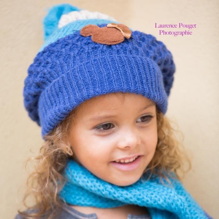 891446005d7e Set bonnet et écharpe Minnie, 1 à 6 ans - Bleu - Achat   Vente ...