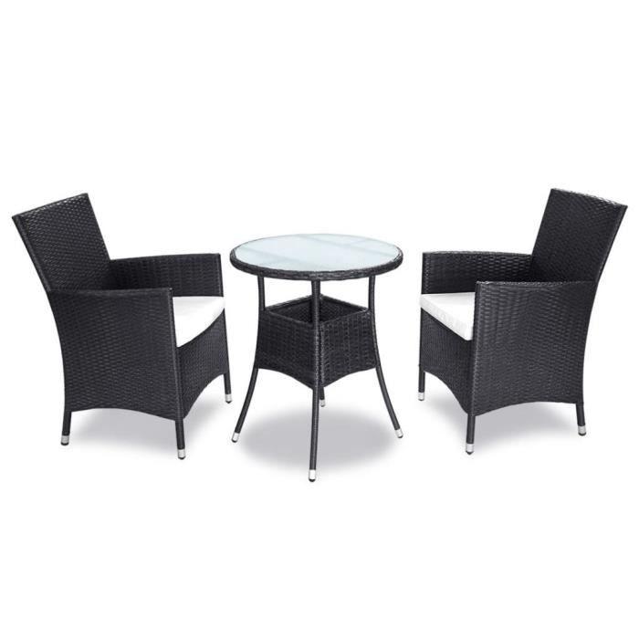Magnifique Ensemble de mobilier de jardin 5 pieces Rotin synthetique Noir