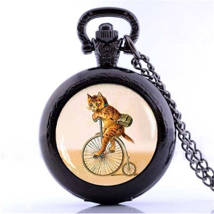 rétro chat sur vélo choker chat hipster vélo montre de poche collier
