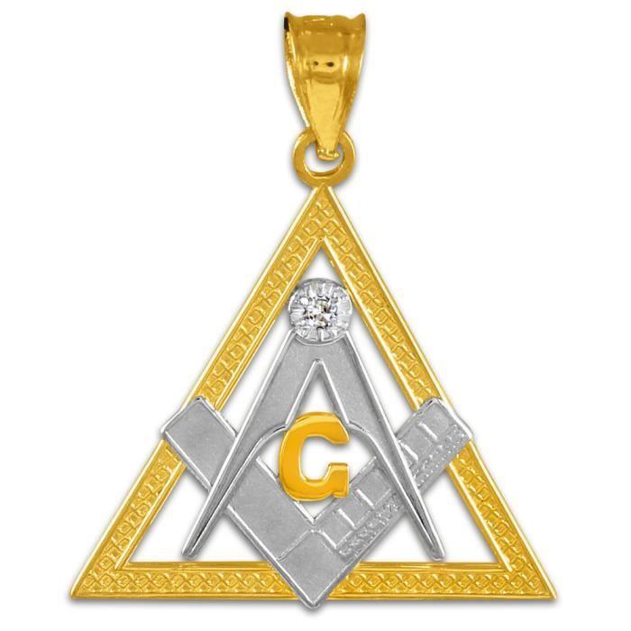 Collier Pendentif10 ct 471/1000 Deux tonnes Franc Collier Pendentif Triangle Or Maçon Diamants (vient avec une Chaîne de 45 cm)