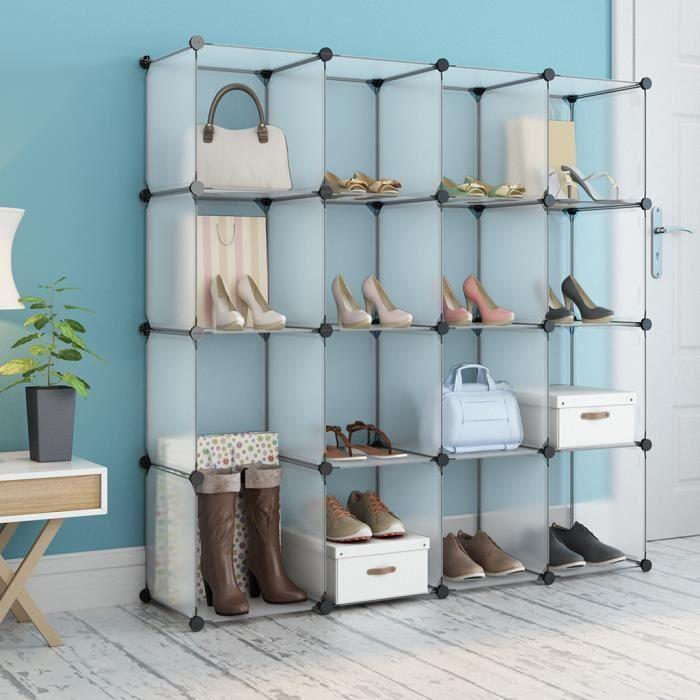 Charmant LANGRIA Armoire Etagère à Chaussures Meuble De Rangement 16 Cubes Penderie  En Plastique à Jouets Stockage Modulable Translucide