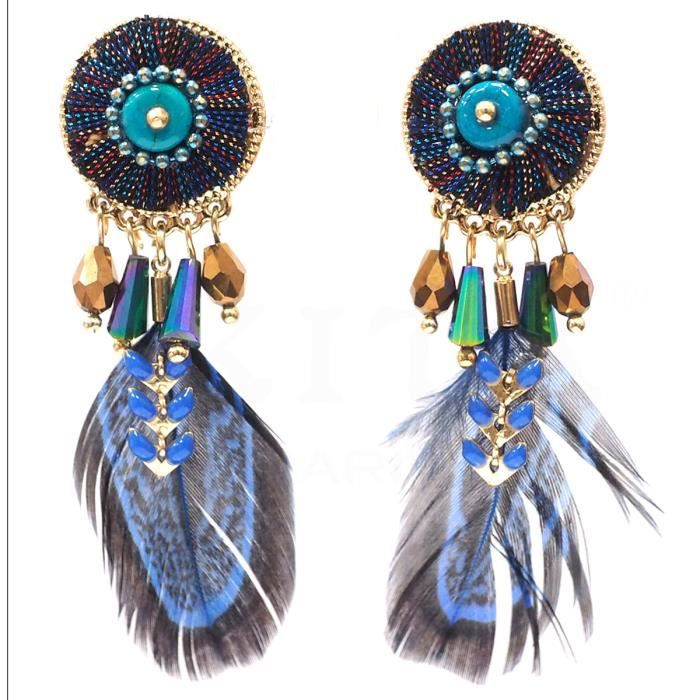 Boucle d'oreille Clips créateur 'Boho' bleu doré - 60x20 mm [Q4964]