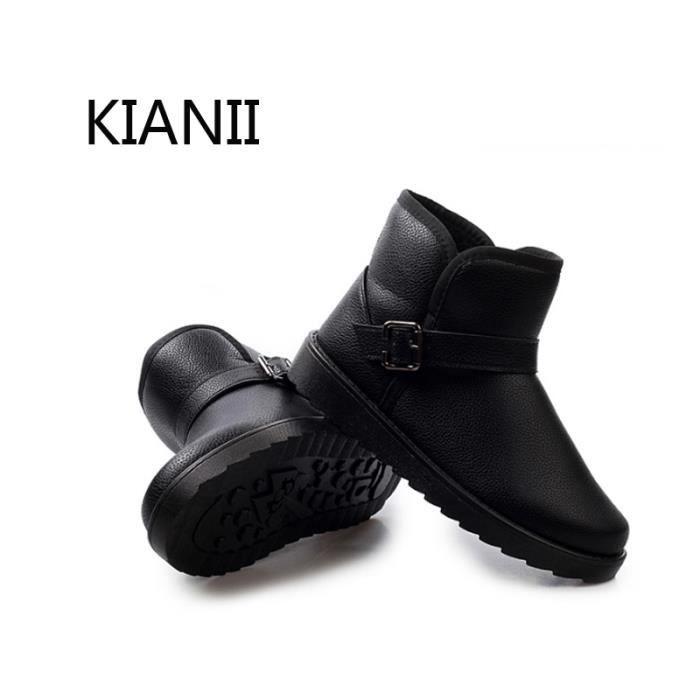Bottine Botte de neige Hommes Mode chaussure d'hiver Coton Chaud Bottes Noir
