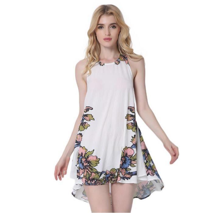 Robe Femme Sans Manches Sans Manches Bandage Blanc En Vrac Impression Fleurs élégant