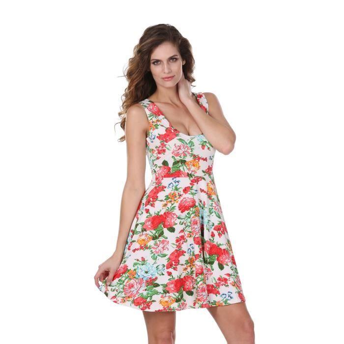 Femme Vintage robe sans manches col O occasionnels impression plissé nouveau