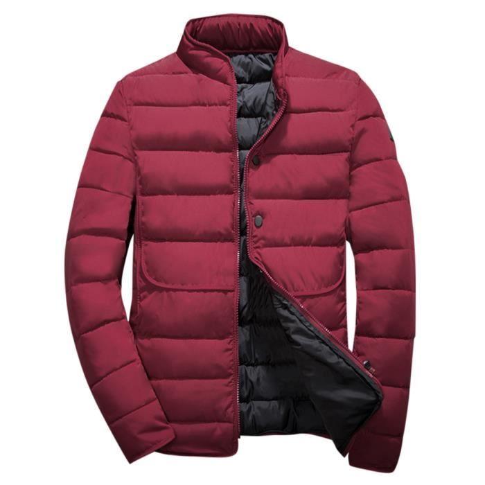 Court Hiver Doudoune Choud Slim rouge Zip Matelassé Coupe Casual vert bleu Manteau Par Pour Col Homme Fermeture Noir Tient Montant Zprq5pg
