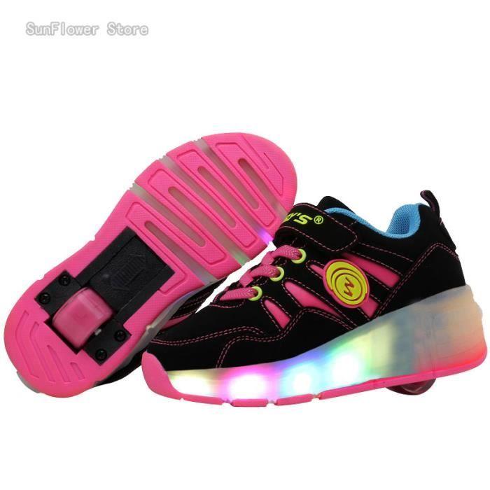 Enfants Roller Heelys Sneaker avec Une Roue LED Lumineux Clignotant Patins Enfants Garçon Fille Skateshoes - Noir-Rose