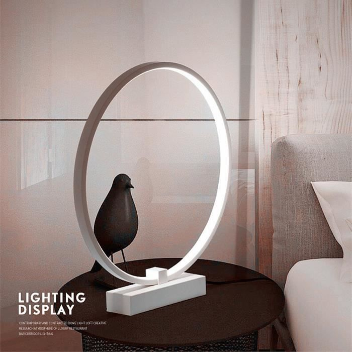 Lampe A Poser Ronde Blanc Froid Led Acrylique 24w Built In Source