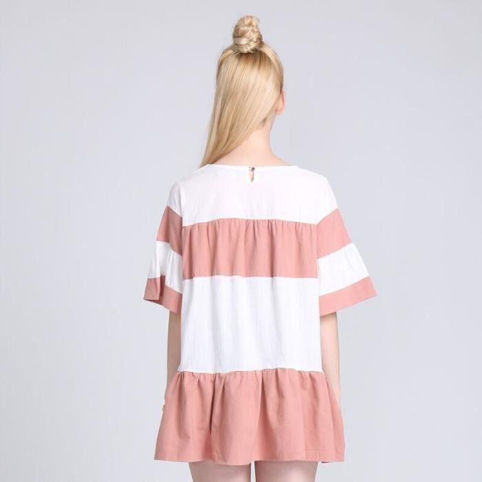 Femme Mode Robe Dété Plissé Lâche Rayure ROSE