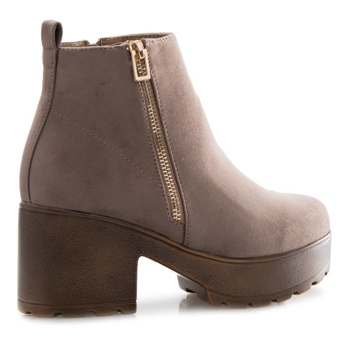 Casual Platform Ankle Bootie Low Mid Heels - Easy On Off Zipper Closure ON7O9 Taille-37 1-2