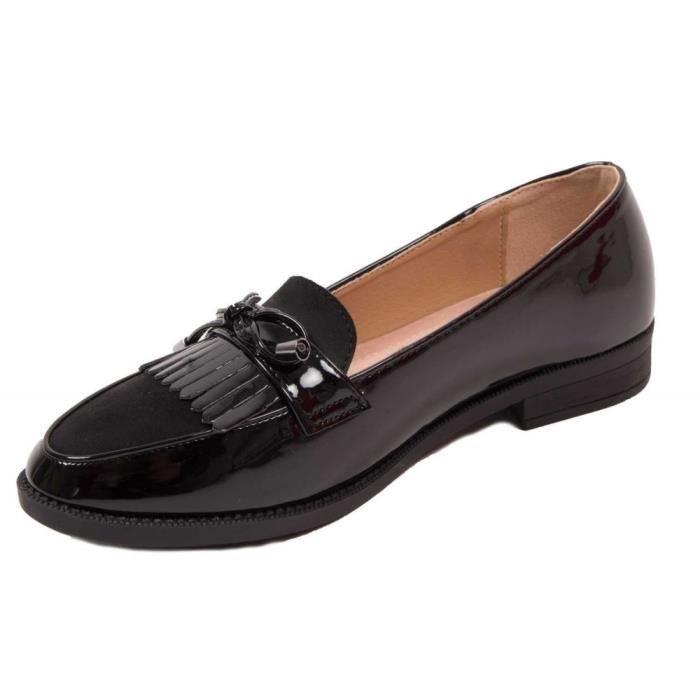 Mocassins femme vernis noir à franges bouts pointus semelle intérieure cuir-36