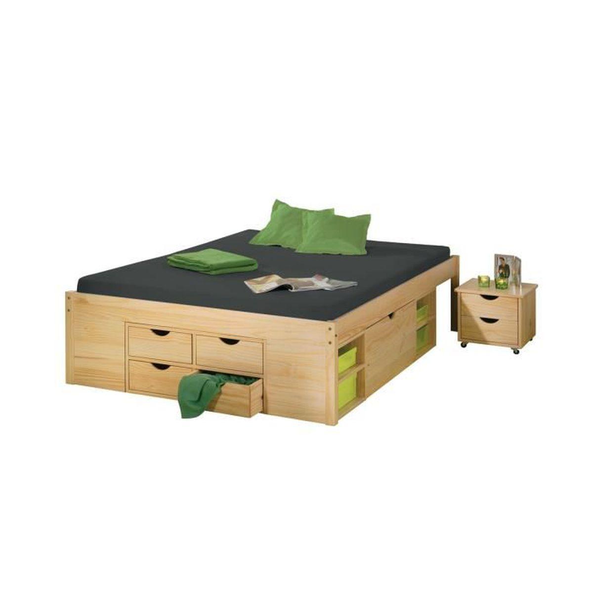 cali lit 140x190 cm multi rangement achat vente structure de lit cali lit 140x190 cm. Black Bedroom Furniture Sets. Home Design Ideas