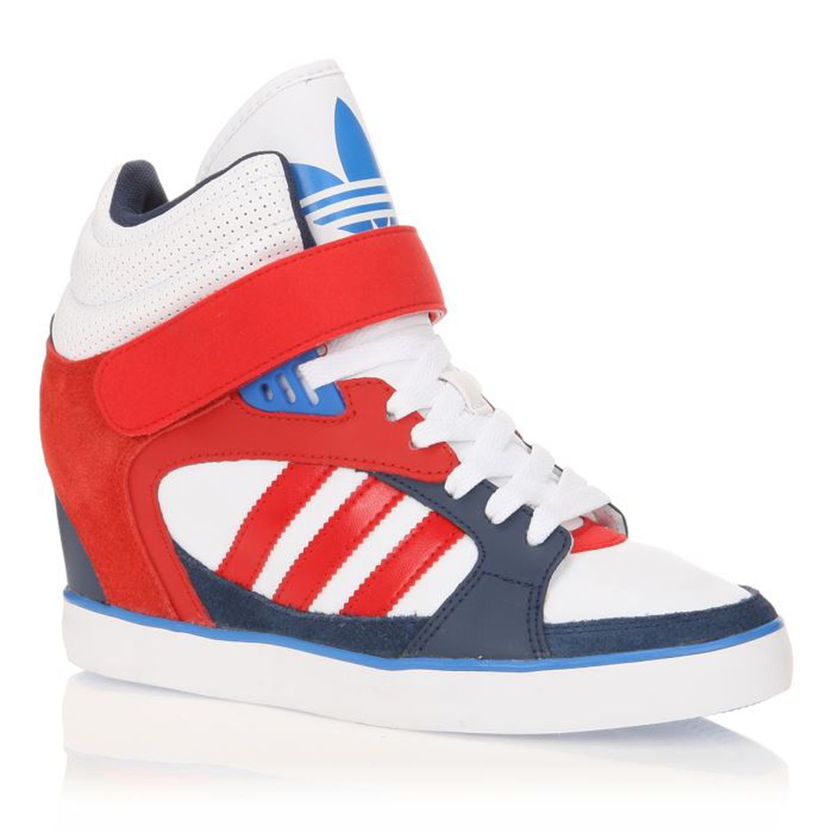 8023d1ad8032 ADIDAS Baskets Cuir Amberlight HEEL W Femme Bleu / Blanc / Rouge ...