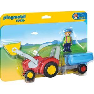 FIGURINE - PERSONNAGE PLAYMOBIL 1.2.3 - 6964 - Fermier avec Tracteur et