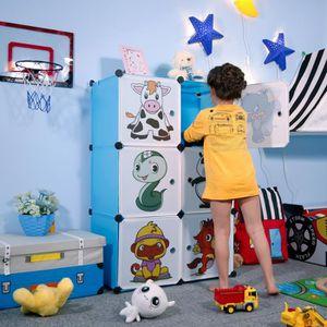 ARMOIRE DE CHAMBRE Armoire Penderie Plastique Enfants Bleu,6 Cubes Ar