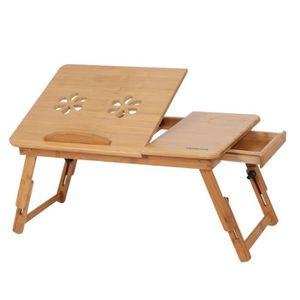 MEUBLE INFORMATIQUE Table d'ordinateur Pliant  en bambou Avec Tiroir p