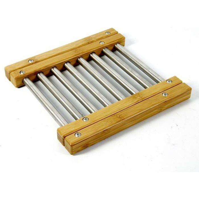 Dessous de plat extensible en bambou et inox de forme rectangulaire