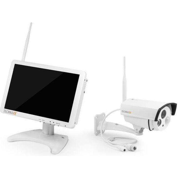 TECHNAXX Premium Security Kit de surveillance avec caméra IP extérieur et moniteur 10,1\