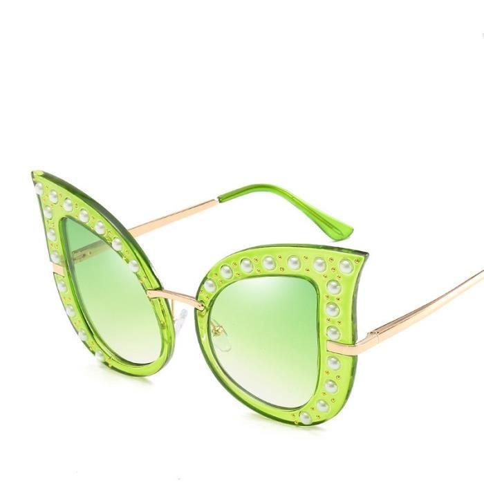 ead66de0e76d41 Nouvelle mode perle rivet chat oeil lunettes de soleil grand cadre dames  lunettes de soleil