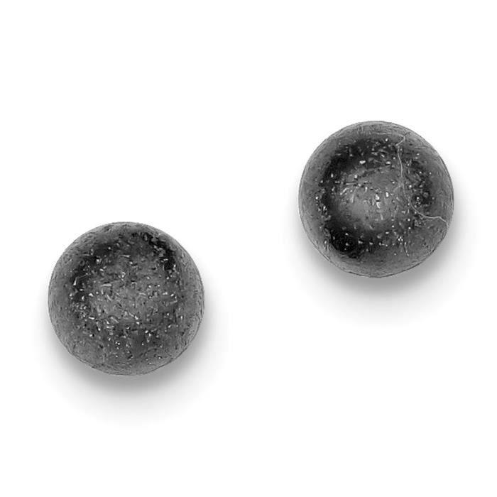 En argent Sterling et Rhodium Noir satiné-Boucles doreille