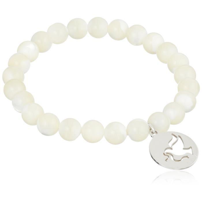 Jewel Panda St Argent Peace Dove Charm 8Mm Blanc Mère-de-Pearl Shell Bracelet extensible 7.5