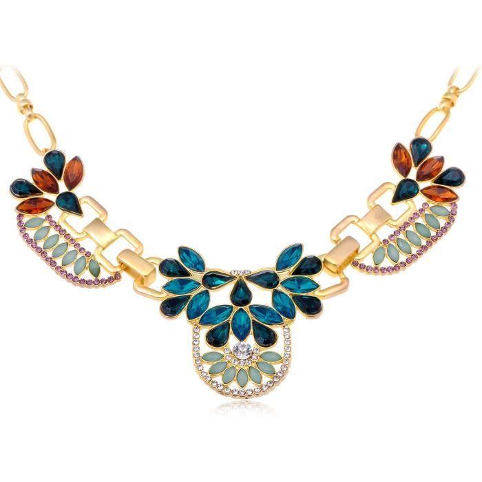 Golden Ton véritable multicolore strass goutte deau Coupe Motif floral-Collier Femme -