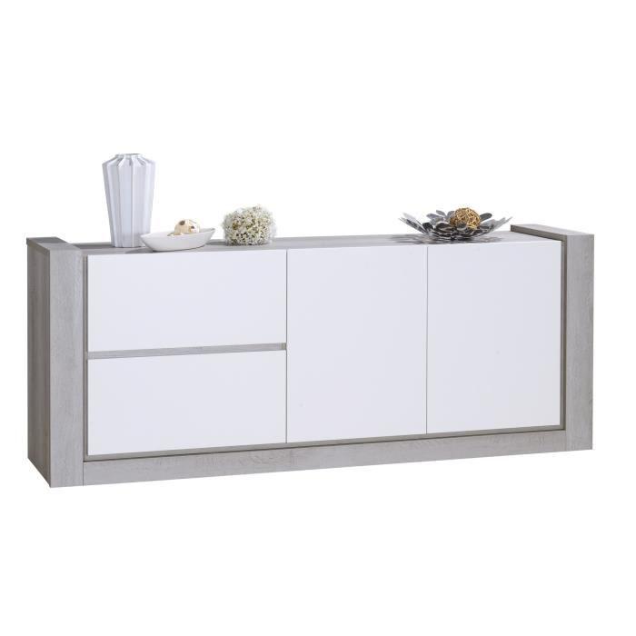NORDEN Bahut contemporain - Gris et laqué blanc mat - L200 cm ...