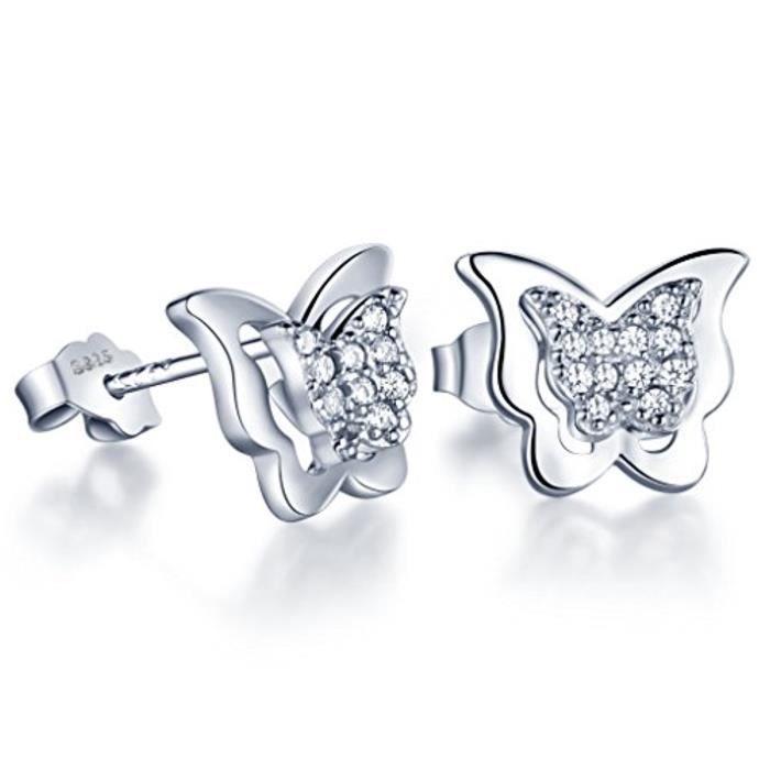 Classique Zircone Cubique Papillon Clous DOreilles 925 Argent Boucle DOreilles Pour Femme-Fille (Avec Sac Cadeau)