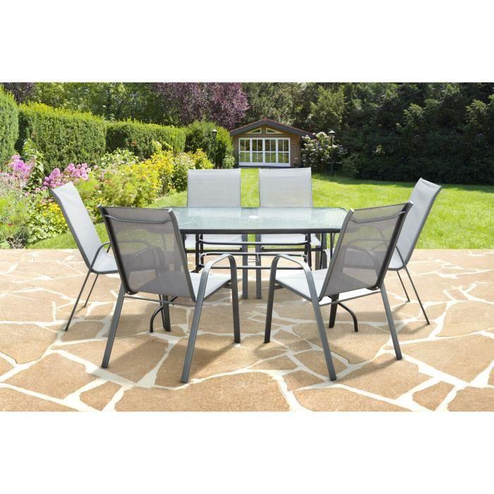 Ensemble Table de jardin + 6 fauteuils Carry (sans parasol) - Achat ...