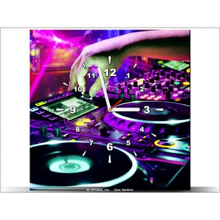 40x40cm -DJ MUSIQUE - TABLE DE MIXAGE - HORLOGE MURALE TABLEAU ...