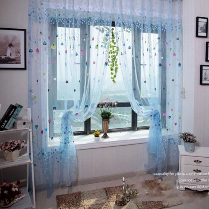 2pcs 200 * 100cm Bleu Rideaux modèle de ballon et motif de fleurs ...