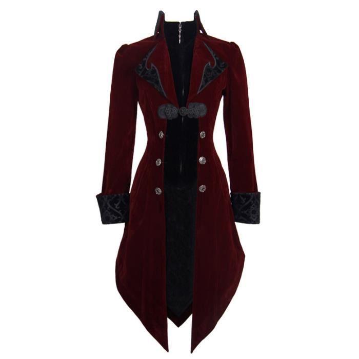 Veste longue rouge et noire aristocrate en velours avec broderies et ... ad65288fc231