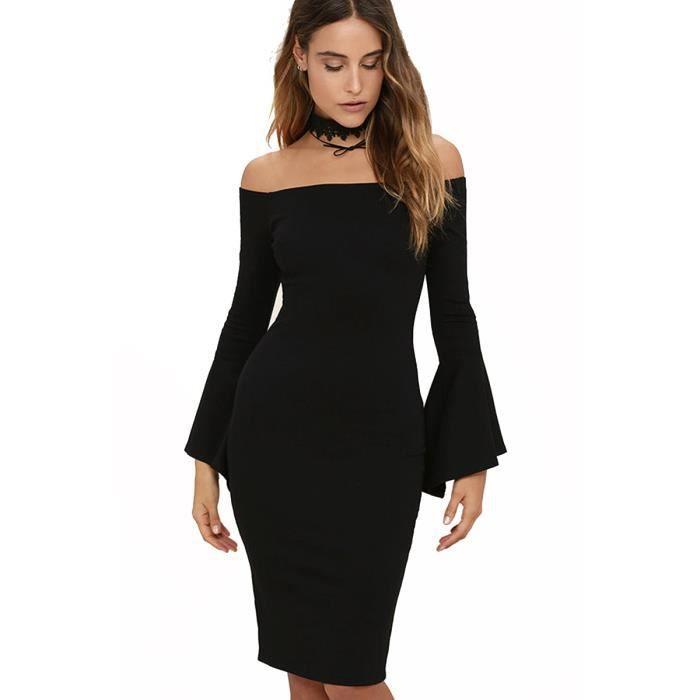 Robe Femme Printemps et Été Backless sexy Skinny fit Couleur Unie Classique mode Noir SIMPLE FLAVOR