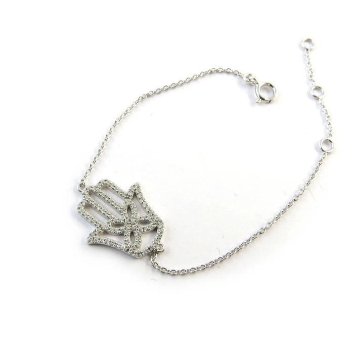 Altesse [N3264] - Bracelet argent Fatma(rhodié)