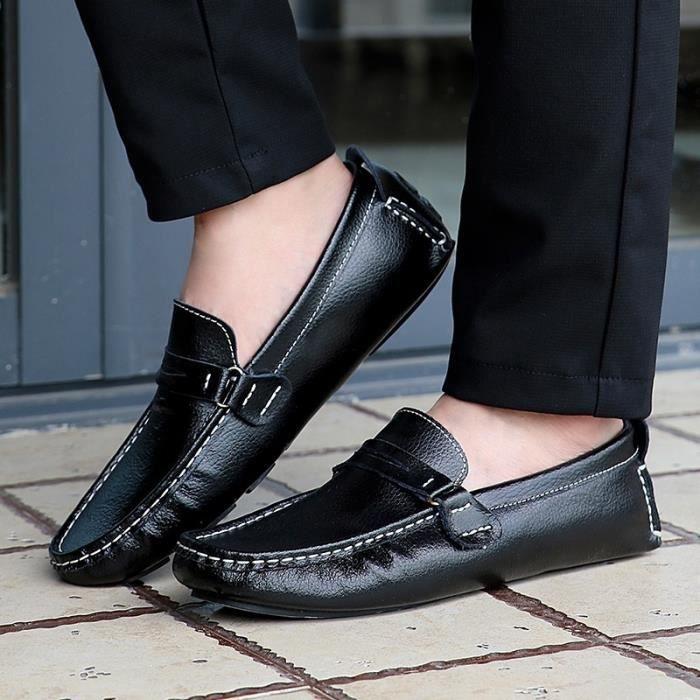 Respirante et confortable Mode Hommes Mocassins en cuir Casual Flat plus Taille 38-48,noir,45,3204_3204