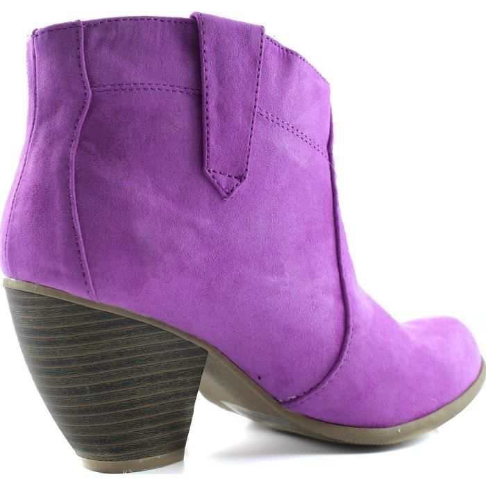 Priority-53 Western Cowboy Ankle Bootie Fashion Round Toe Boots TSUW2 Taille-38 TD2T4FNf