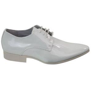 DERBY Chaussures homme simili blanc verni doublure en cu