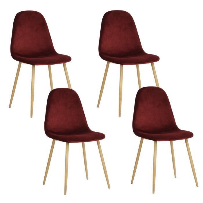 CHARLTON VELVET Lot de 4 chaises en métal imprimé bois - Revêtement velours bordeaux - Contemporain
