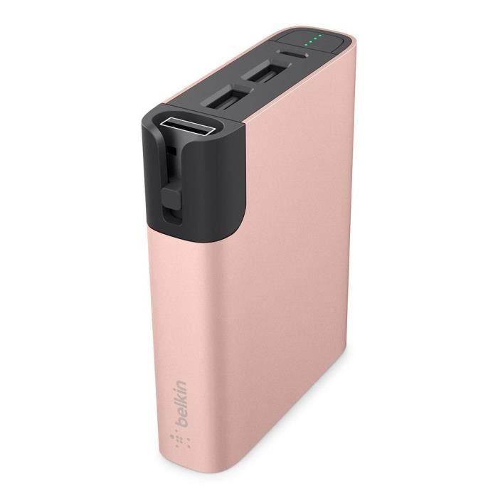 Belkin Batterie externe Mixtit 6600 mAh - Or / rose - Avec câble micro-USB - 8 cm