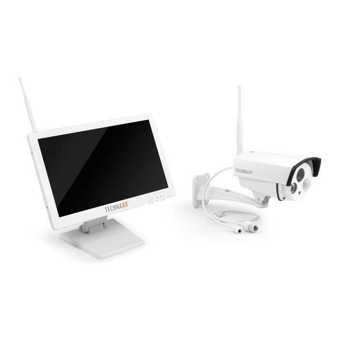 TECHNAXX Premium Security Kit de surveillance avec caméra IP extérieur et moniteur 18,5\