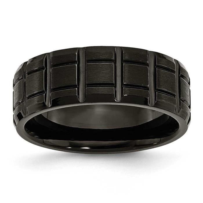 Crantée Noir 8 mm en titane brossé et poli Bague Taille N 1/2–JewelryWeb