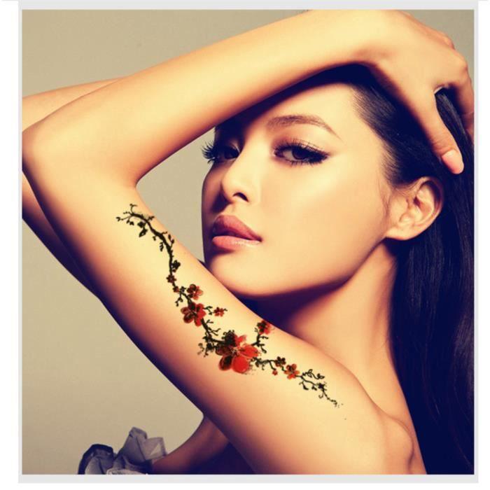 Tatouage Temporaire Realiste Femme Motif Rose Fleur 10 Pieces