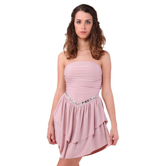 2612e46c11a Robe bustier à volants... ROSE Rose - Achat   Vente robe - French ...