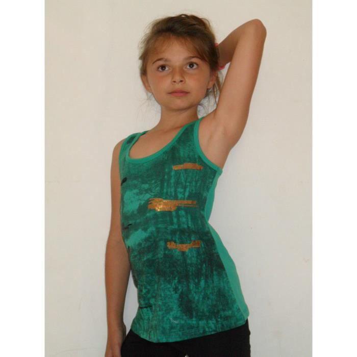 96547cfce445f Tee shirt débardeur enfant fille vert paillettes Vert - Achat ...