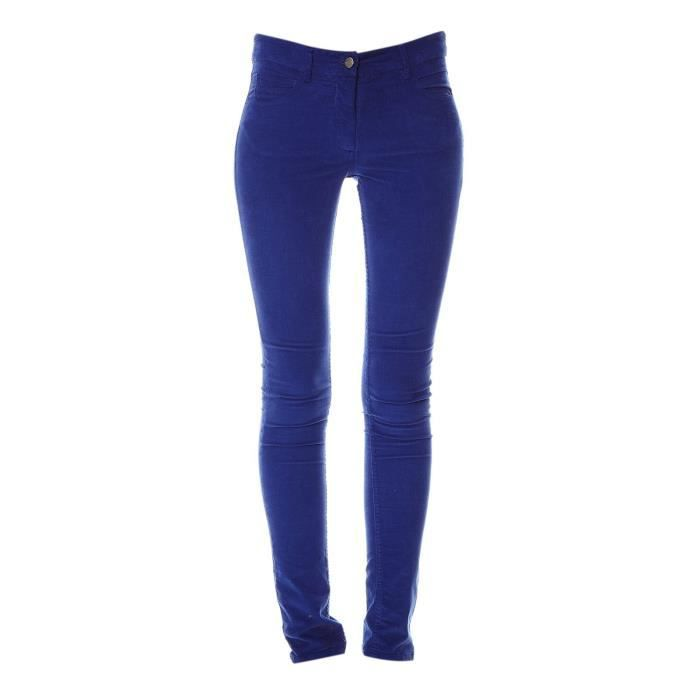 Yoko - Pantalon slim - en velours côtelé bleu roi Bleu Bleu - Achat ... 151cc64dd6b3