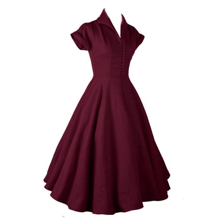 56389eaf3ceb Robe de Soirée Femme Vintage Rétro 1950 s Audrey Hepburn Cocktail Année 50  Rockabilly Manche Courtes Mode Slim