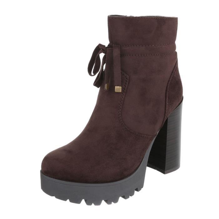 femme botte chaussure High Heels bottine marron 9NODq