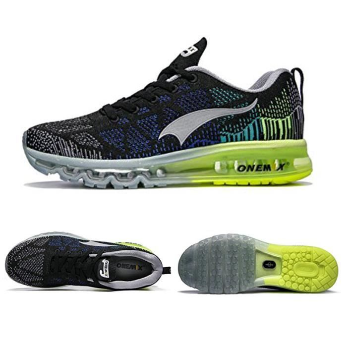 premium selection 05132 da302 ONEMIX Hommes Sport Chaussures de Course Musique Rhythm Sneakers Respirant  Mesh En Plein Air Athlétique Lumière Mâle Chaussure